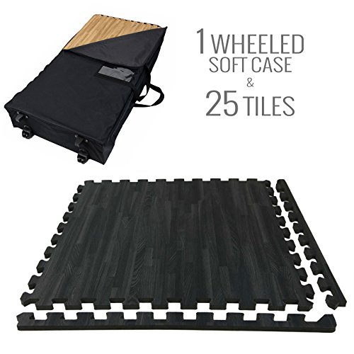 Incstores - Premium Soft Wood Interlocking Foam Tiles (2'x2') - Excellent for Trade Show Flooring, Exhibit Flooring, Display Flooring, Conventions, Living Areas, Play Rooms, Yoga, Pilates and Other Light Aerobic/cardio Exercises (Black, 25 Tiles w/ Wheeled Soft Case) (Interlocking Trade Show Flooring)