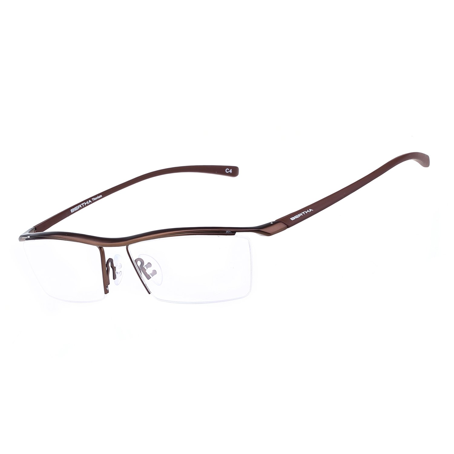 Bertha Men Z Pure Titanium Semi-rimless Eyeglasses Business Optical Frame 8189 (Bronze) by Bertha