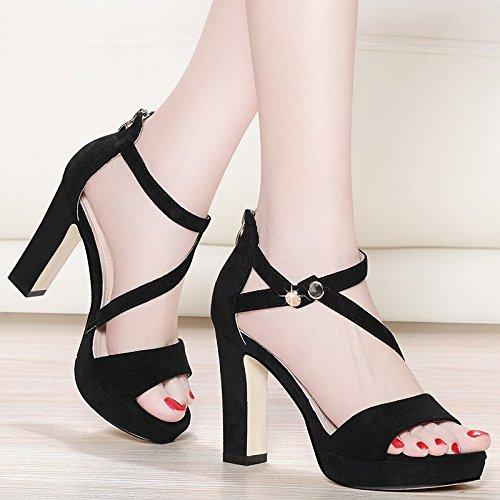 Jqdyl Tacones Las Nuevas Sandalias de Verano Palabra Hebilla Impermeable Grueso con Zapatos de Tacón Alto Zapatos de Mujer, 34, Negro 34|black