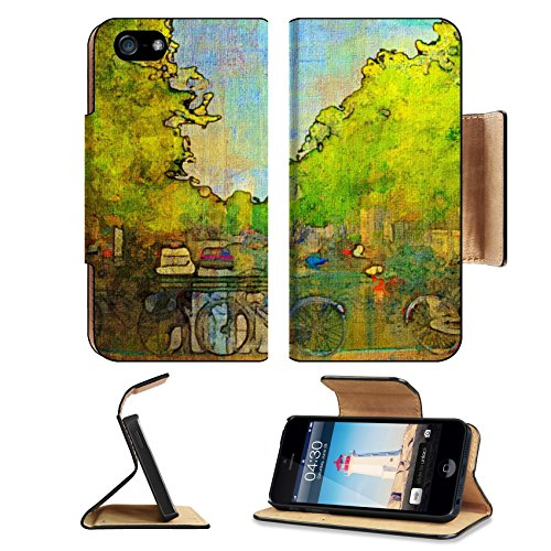 Liili Premium Apple iPhone 5 iphone 5S Flip Pu Leather Wallet Case oil painting of amsterdam canal early morning iPhone5 Photo 6997595 Simple Snap Car…