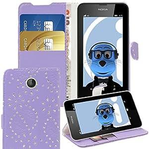 iTALKonline Nokia Lumia 630Bling flor diamante Hojas PU piel exekutiv Multi Function carpetas Buzón protectora veranstalter Flip con la Credit/Business Card Dinero de titular Integrated Stand de visualización horizontal Espacio, compatible con Nokia Lumia 630