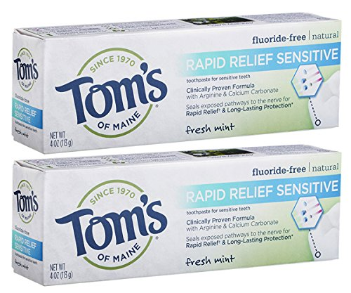 Fluoride Natural Toothpaste Anticavity Kosher - Tom's of Maine Rapid Relief Sensitive Natural Toothpaste Multi Pack, Fresh Mint, 2 Count
