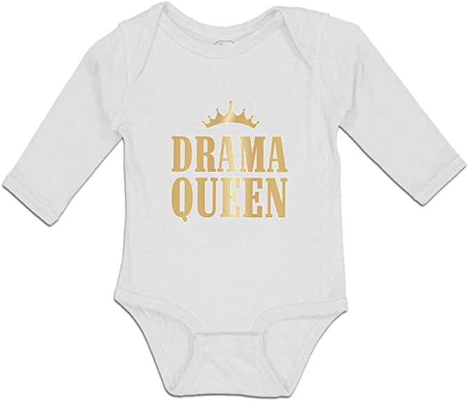 Unisex Long Sleeve Soft Cotton Baby Vests Bodysuits Drama Queen White