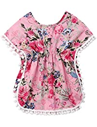 a7fa63610f7a4 Kids Toddler Girls Cover Up Swimsuit Wraps Baby Floral Beach Dress Sundress  with Pompom Tassel