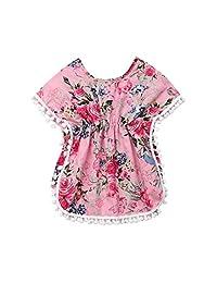 Koloyooya Baby/Toddler Girls Ball-Edge Beach Tassel Shawl Blouse