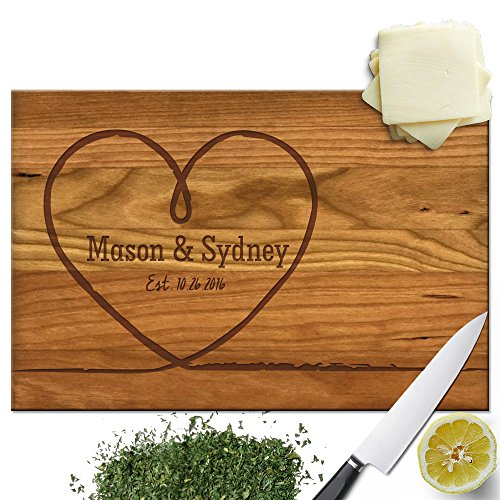 Personalized Sisters Heart - Froolu Big Heart personalized cutting board for wedding for Newly Wed Couples Monogrammed Gifts