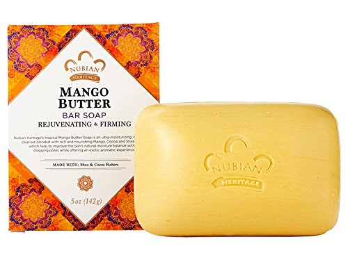 Nubian Heritage Mango Butter Bar Soap with Shea & Cocoa Butter, Vitamin C -- 5 oz (3 unit pack)