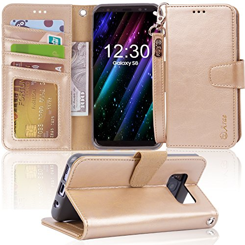 Galaxy s8 Case, Arae [Wrist Strap] Flip Folio [Kickstand Feature] PU Leather Wallet case with ID&Credit Card Pockets for Samsung Galaxy s8 (NOT for Galaxy s8 Plus), (Champagne Gold)