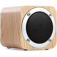 Bluetooth Speakers Wooden, Bodecin Portable Wireless Bluetooth 4.0 Stereo Speakers with 10-Hour Playtime, 1800mAh Rechargable Battery, Support FM AUX TF Card MP3 Player (White Oak)