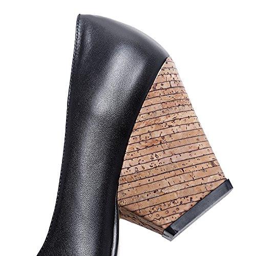 Nine Seven Cuero Puntiagudos Tacones de Tacón de Cuña de Vestir para Mujer negro