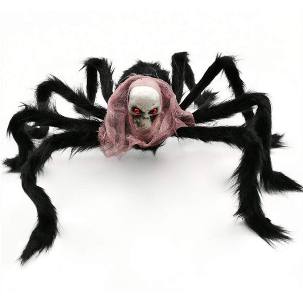 SaveStore Fake Spider Funny Toy Halloween Props DIY Decoration Big Black Furry Soft Spider Props for Party Bar Decor Supplies Joking Toys