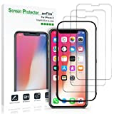 iPhone X Screen Protector Glass (3-Pack), amFilm iPhone X Glass Screen Protector with Easy Application Tray -- MORE COVERAGE, BETTER PROTECTION -- for Apple iPhone X / iPhone 10 (3-Pack)