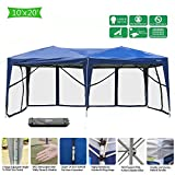 Cheap VINGLI 10′ x 20′ EZ POP UP Canopy Tent with 6 Removable Mesh Sidewalls,Shelter Anti-UV Anti-Mosquito, Screen House Family Party,Folding Instant Commercial Wedding Gauze Gazebo,Wheeled Carry Bag,Blue
