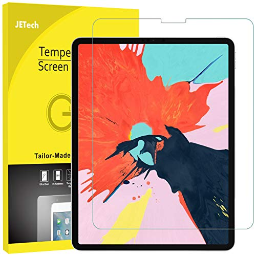 JETech Screen Protector for iPad Pro 12.9-Inch (3rd Generation 2018 Model, Edge to Edge Liquid Retina Display), Face ID Compatible, Tempered Glass Film ()