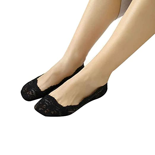 Harmily 1 Pair Women Girls Summer Lace Non-slip Invisible Short Sock No Show Low