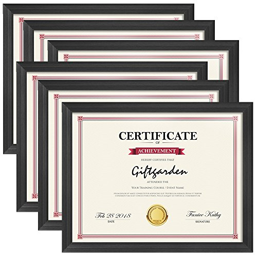 Giftgarden 8.5x11 Picture Frames Certificate Document Frame Set, Black, 6 Pack