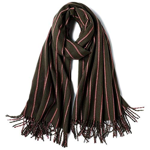 ZSDGY Scarf Winter Imitation Cashmere Stripes/Thick Warm Shawl Tassel Scarf 74×200cm,D