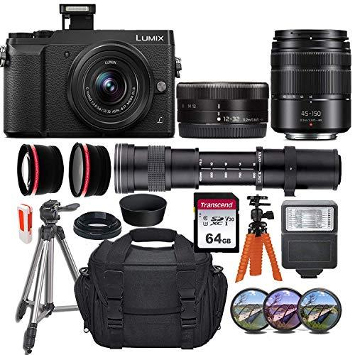 Panasonic Lumix DMC-GX85 Mirrorless Micro Four Thirds Digital Camera USA Model w/ 12-32mm, 45-150mm & 420-800mm Lenses + Essential Accessory Bundle incl. Wide-Angle & Telephoto Conversion Lens & More