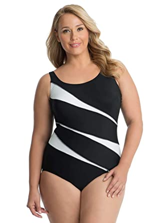 5ae0b2ef377 Miraclesuit Women's Plus Size Swimwear Helix Underwire Scoop Neckline Tummy  Control One Piece Swimsuit at Amazon Women's Clothing store: