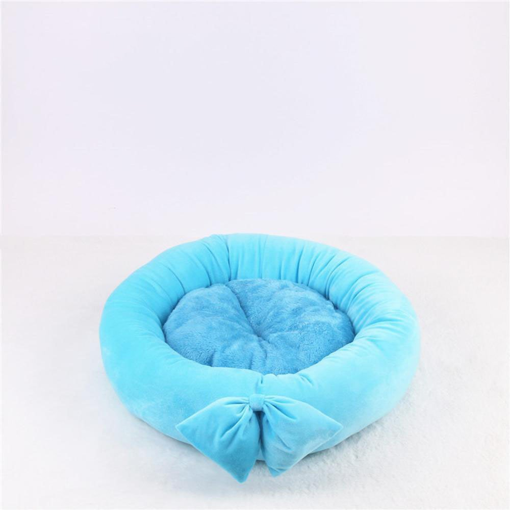 F 55cmBiuTeFang Pet Bolster Dog Bed Comfort Small and mediumsized dog pet nest cushion cat nest Butterfly knot round kennel Four Seasons