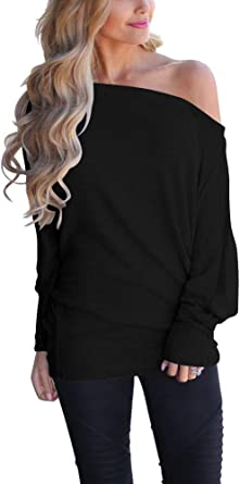 Tops Ladies Knitted Off Shoulder Neck Solid Loose Casual Covered Hip T-Shirt