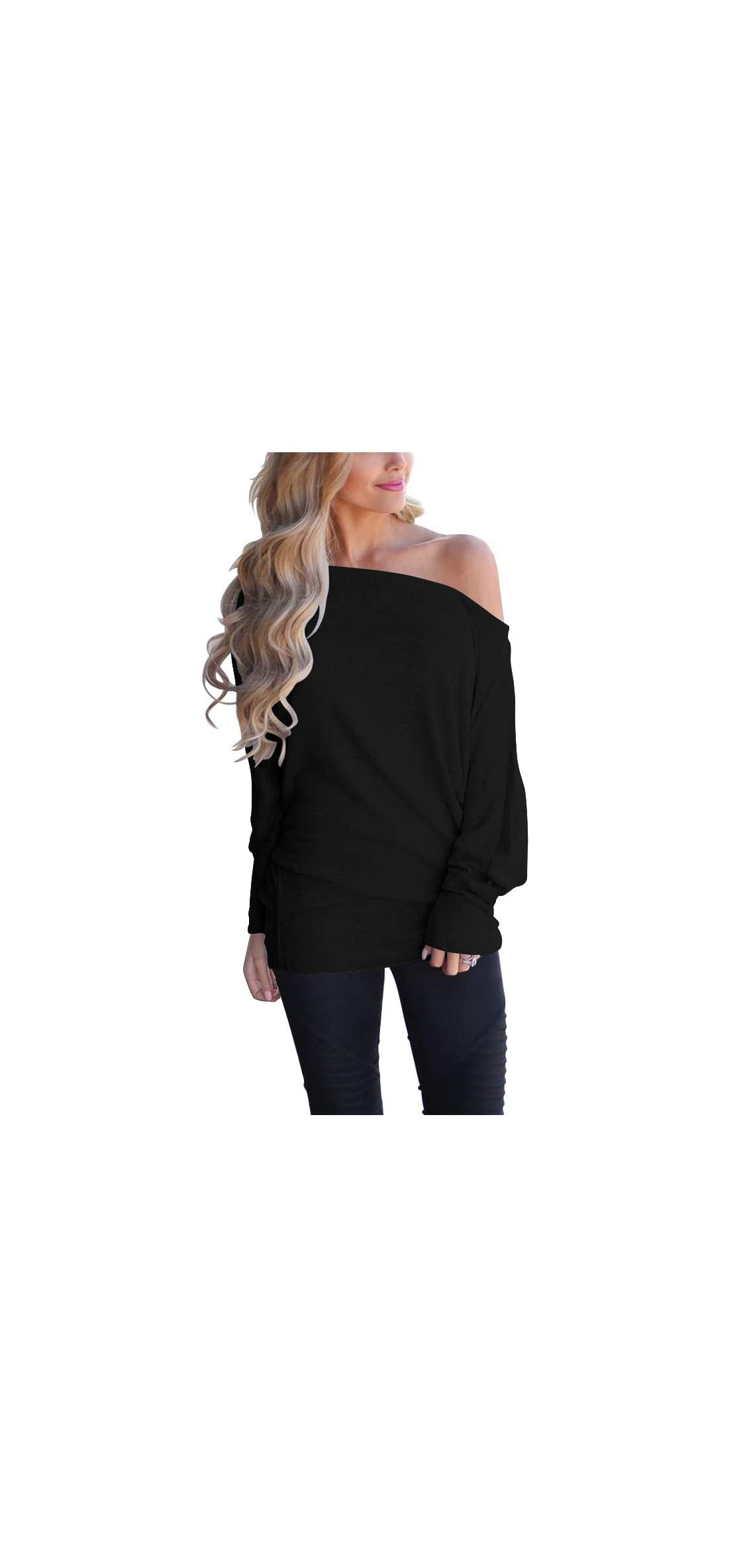Women's Off Shoulder Long Sleeve Oversized Pullover Knit
