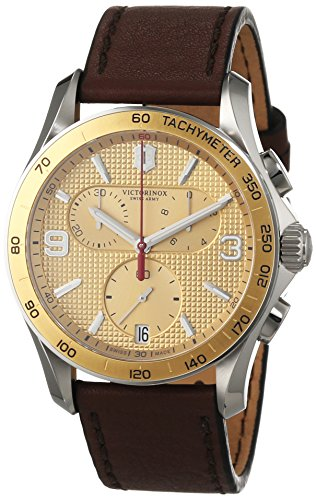 Victorinox Swiss Army Gold Dial SS Brown Leather Chrono Quartz Mens Watch 241659