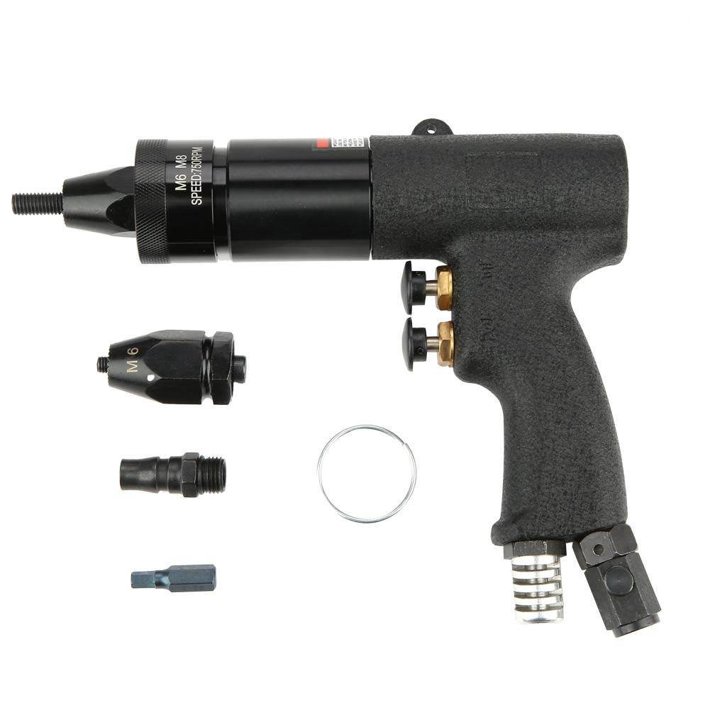 Riveter,Akozon Pneumatic Riveting Gun Pull Nut Automatic Air Riveter Nut Gun Tool ((KP-739A))