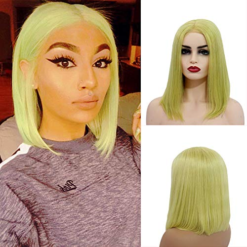 Handmade Wig - Bob Lace Wigs for Ladies Summer Short Bob Style Lace Front Wigs Pre Plucked Human Hair 13x4 Lace Wigs Handmade Cosplay Party Hair Lemon Green 8 Inch