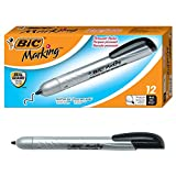 Electronics : BIC Marking Retractable Permanent Marker, Fine Point, Black, 12-Count