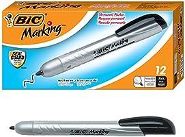 BIC Marking Retractable Permanent Marker, Fine Point, Black, 12-