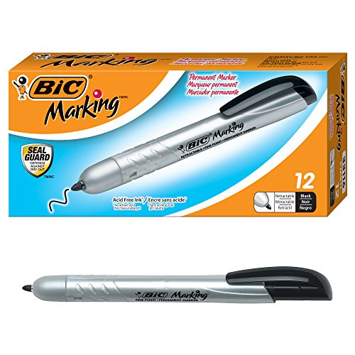 BIC Marking Retractable Permanent Marker, Fine Point, Black, 12-Count