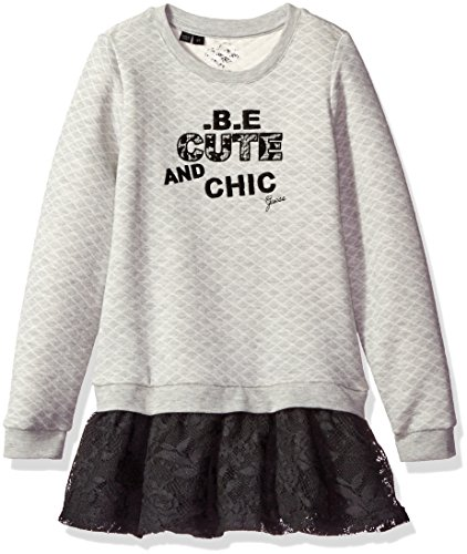 GUESS Little Girls' Long Sleeve Embroidered Quilted Fleece and Lace Dress, Light Heather Grey, 4 (Clothing Dress Code)