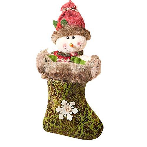 Colorzonesd Christmas Stocking Mini Sock Santa Claus Candy Gift Bag Xmas Tree Hanging Decor (B) (Tree Q Xmas And B)