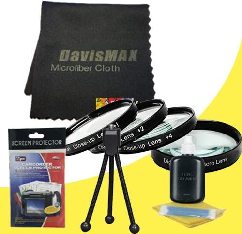 58mm Macro Close Up Kit for Canon EOS Rebel T4i with Canon 18-55mm Lens DavisMAX Fibercloth Deluxe Macro Bundle