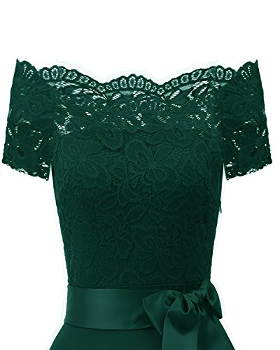 Women's Lace Cocktail Belt Green Dress Party with Evening EvoLand dFPUqd