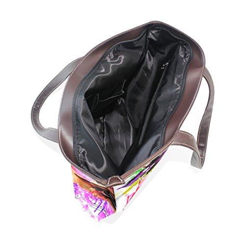 COOSUN Damen Rainbow Eye Pu Leder Große Einkaufstasche Griff Schultertasche