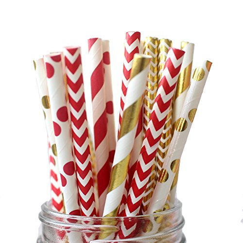 IPALMAY 150 Count Metallic Gold and Red Biodegradable Drinking Paper Straws, Striped Polka Dot Chevron, 7.75 Inches