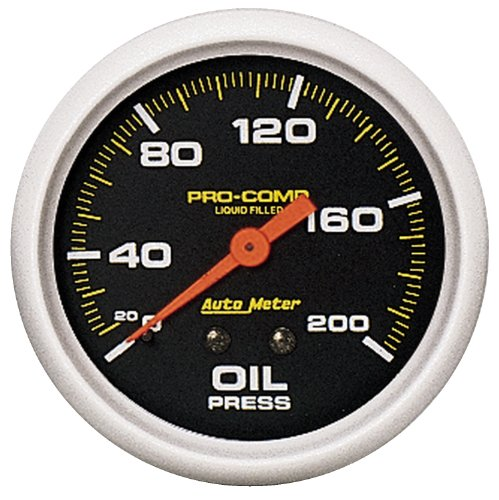 (Auto Meter 5422 Pro-Comp; Liquid-Filled Mechanical Oil Pressure Gauge; 2 5/8 in.; 0 - 200 psi; Incl. 1/8/0.25 in. NPT Fittings; 6 ft. Nylon Tubing;)