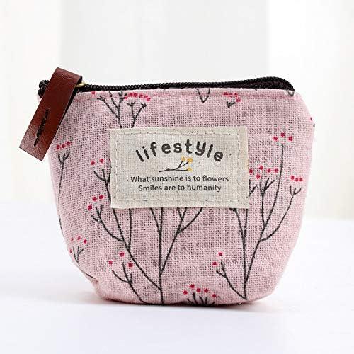 UVAN ART Mini Pochette Femme Porte-Monnaie en Lin Toile Imprim/é Fleur R/étro avec Bouton Pression Fermeture Eclair 4 PCS