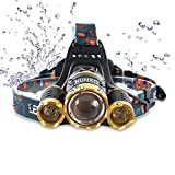 Brightest and Best 6000 Lumen Bright Headlamp Flashlight , IMPROVED LED with Rechargeable Batteries for Reading Outdoor Running Camping Fishing Walking - Waterproof Headlight