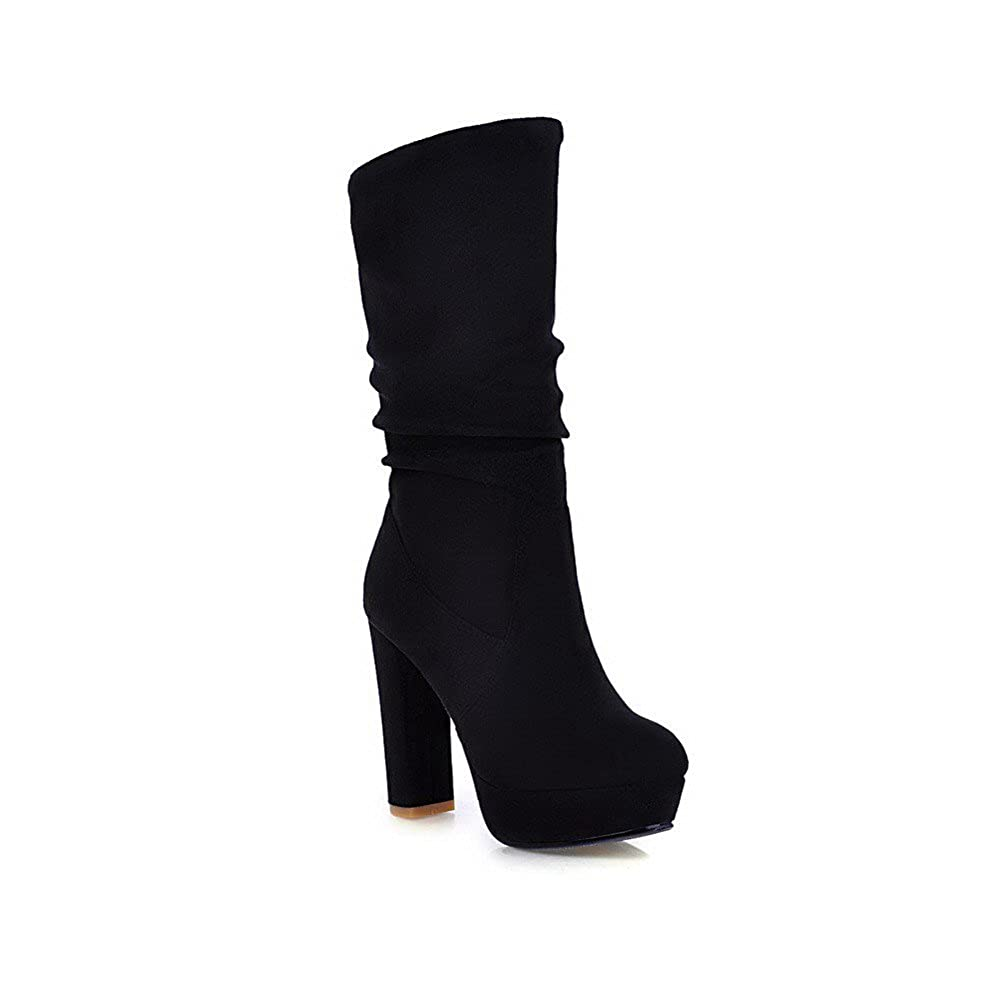 VogueZone009 Womens Closed Round Toe High Heel Imitated Suede Frosted Solid Boots with Platform