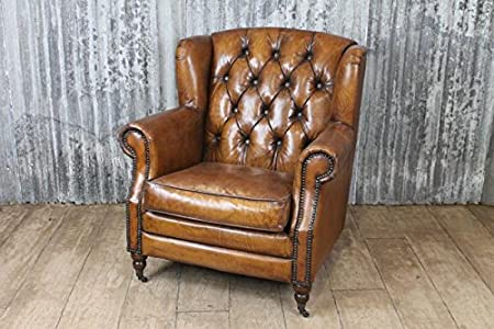Merveilleux VINTAGE RETRO STYLE LEATHER STUDDED ARMCHAIR THE BERKELEY