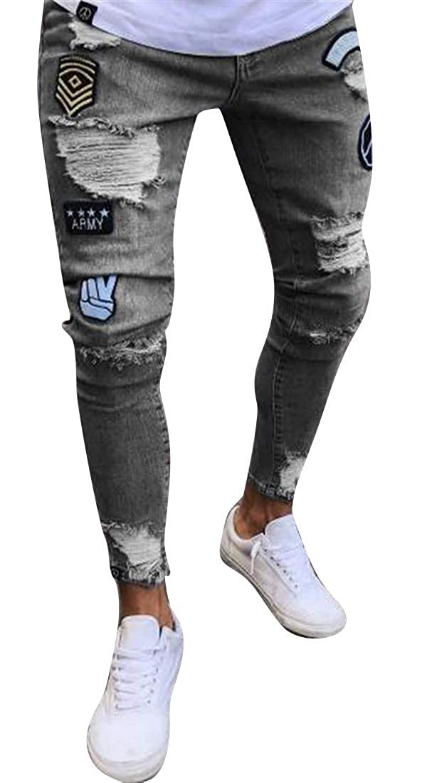 pipigo Mens Ripped Regular Fit Casual Washed Denim Jeans Pants