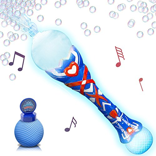 - Light Up Musical Bubble Blower Wand by ArtCreativity 13.5 Illuminating Bubble Blower Wand w/Thrilling LED and Music Sound Effect for Kids, Bubble Fluid - Batteries Included | Gift Idea/Party Favors