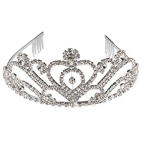 Exacoo Birthday Tiara Wedding Crown Bridal Tiara Crown Women Tiara Crown with Comb Silver -