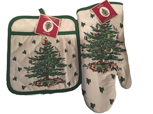 Spode Christmas Tree 2-pc Kitchen Gift Set Includes Oven Mitt and Square Pot Holder Bundle
