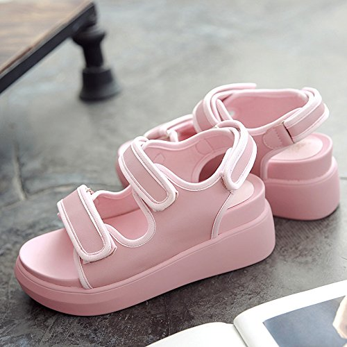 de de de Estudiante Roma Grueso Universal Cuero Plataforma Sandalias QQWWEERRTT Zapatos Moda Verano Rosa Nueva 35 RxvqXSESw