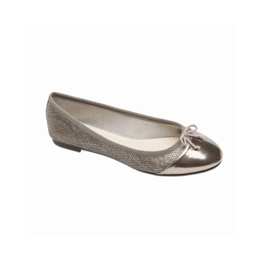 PIC/PAY Anita Women's Flats - Lizard Skin Rounded Toe Ballet Flat B01HFPL240 5.5 B(M) US|Pewter Snake Print