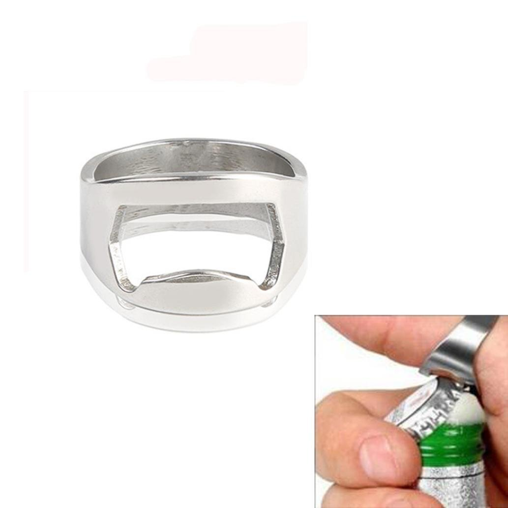 Bomdes 1PCS Stainless Steel Finger Thumb Ring Bottle Open Opener Bar Beer Tool Gifts Hao Tech